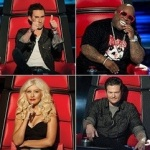 The Judges For NBC's The Voice, Adam Levine, Blake Shelton, Cee Lo Green and Christina Aguilera